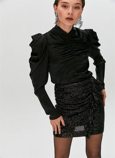 Rue Balon Omuzlu Drapeli Bluz Siyah